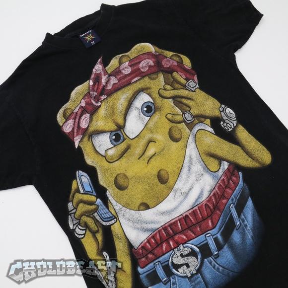 vintage shirts vtg 2000s nickelodeon spongebob gangster hiphop m